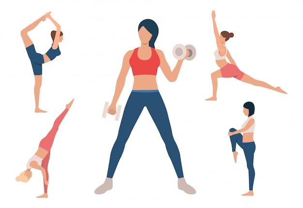 Satz des frauentrainingskörpers. mädchen, die yoga machen