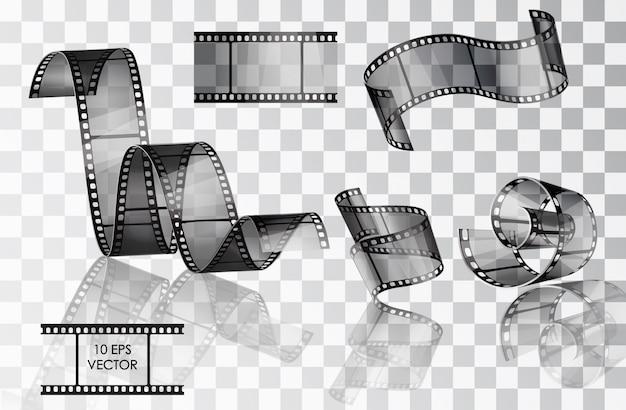 Satz des gebogenen fotografischen films. film. . verdrehter film. rutschen. filmszenen. eine rolle mit filmmedien.