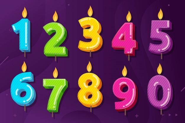 Satz des geburtstags-jahrestages nummeriert kerzenvektorillustration