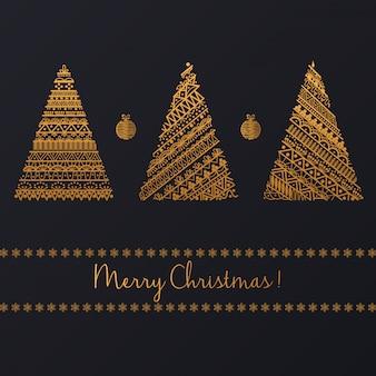 Satz des geometrischen goldenen linearen grafischen weihnachtsbaums auf schwarzem hintergrund