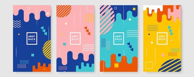 Satz des geometrischen technologiehintergrundes des grafikdesigns. memphis-design-cover-kollektion