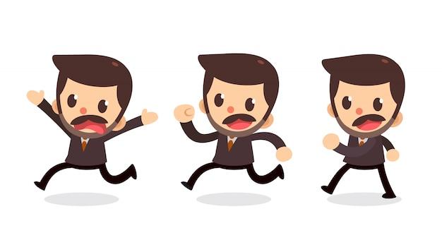 Satz des geschäftsmanncharakters in den aktionen. laufen und laufen.