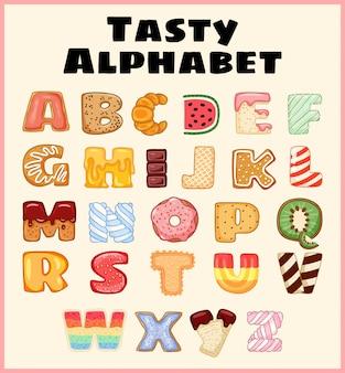 Satz des geschmackvollen alphabetes. köstlich, süß, wie donuts, glasiert, schokoladig, lecker, lecker, geformte buchstaben.