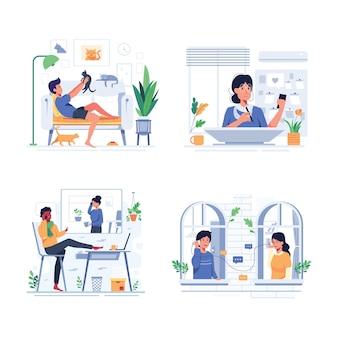 Satz des glücklichen menschenlebensstils während des bleibens zu hause im karikaturcharakterstil, entwerfen flache illustration