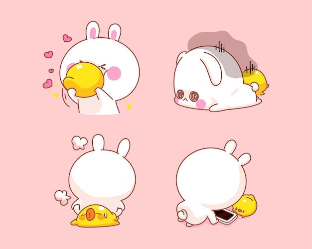 Satz des glücklichen niedlichen kaninchens mit ente, die aktivitäten zusammen karikaturillustration tut