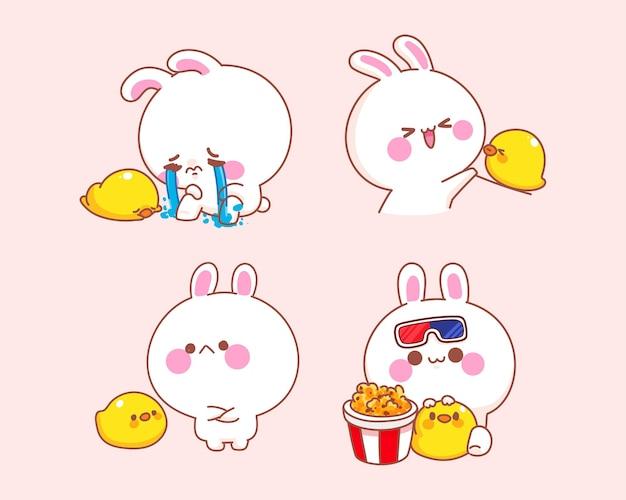 Satz des glücklichen niedlichen kaninchens mit entenkarikaturillustration