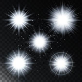 Satz des glühenden lichteffektsternes, die hellen lichter des sonnenlichts mit scheinen
