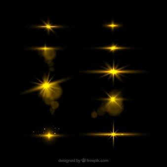 Satz des goldenen blendenflecks mit realistischer art