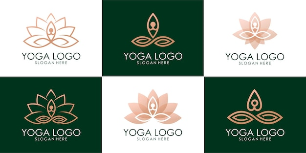 Satz des goldenen yoga-menschen kombinierten lotus-logos. premium-vektor