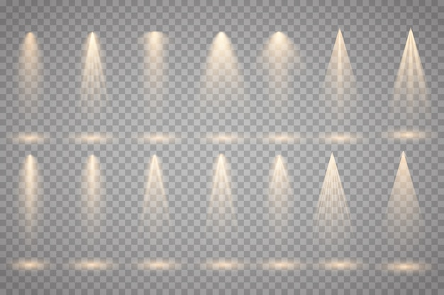 Satz des goldscheinwerfers lokalisiert auf transparentem hintergrund. vektor leuchtenden lichteffekt