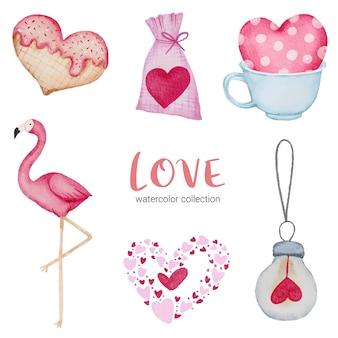 Satz des großen isolierten aquarell-valentinsgrußkonzeptelements reizende romantische rot-rosa herzen für dekoration, illustration.