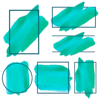 Satz des grünen aquarellfahnen-designvektors