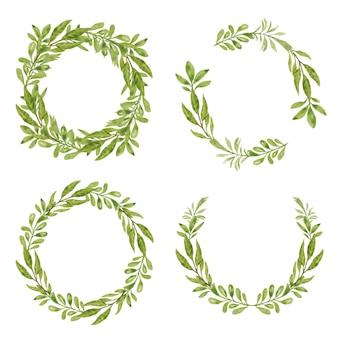 Satz des grünen blattkranzes des aquarells für dekorationselement
