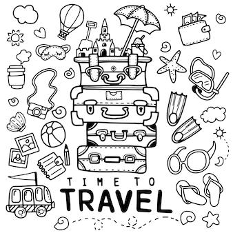 Satz des hand gezeichneten reisegekritzels