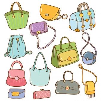 Satz des handtaschengekritzels lokalisiert auf weiß