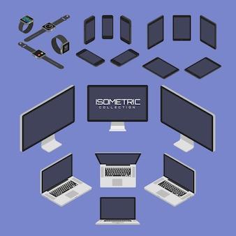 Satz des handys, intelligente uhr, tablette, laptop, computer von der gesetzten vektorgraphikillustration mit vier seiten ikone