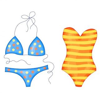 Satz des hellen gestreiften strandbadeanzugs des orange gelbs und des blauen tupfens in der netten karikaturart. vektor-illustration isoliert