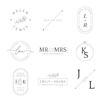Satz des Hochzeitseinladungsausweis-Designvektors