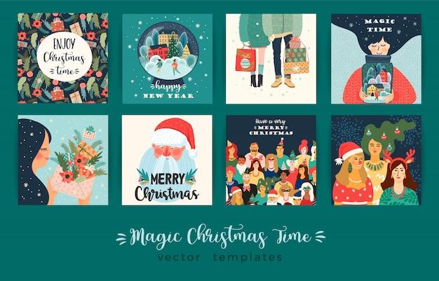 Satz des illustrationskartensatzes des weihnachten und des guten rutsch ins neue jahr