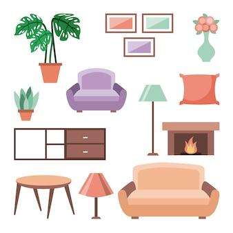 Satz des innenhausraumes mit lebendem schlafzimmer der möbelikonen