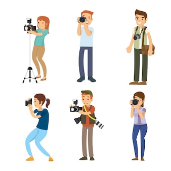 Satz des intelligenten berufsfotografen mit seiner kamera