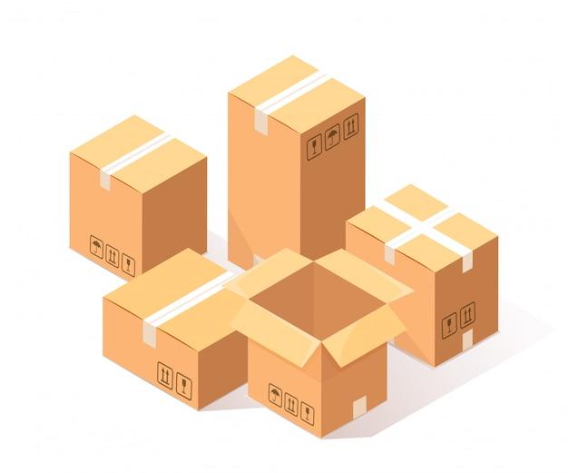 Satz des isometrischen kartons 3d, karton lokalisiert auf weißem hintergrund.