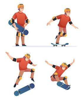 Satz des jungen, der skateboard in den verschiedenen posenillustration spielt
