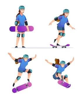 Satz des jungen mädchens, das skateboard in den verschiedenen posenillustration spielt