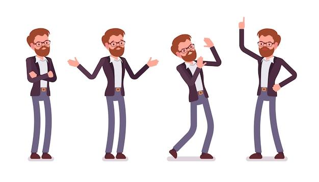 Satz des jungen männlichen managers, der negative gefühle, verschiedene haltungen zeigt