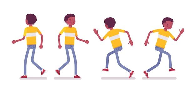 Satz des jungen mannes des schwarzen oder des afroamerikaners, der geht und läuft