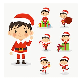Satz des jungen netten weihnachtsmann-jungen