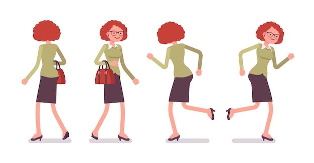Satz des jungen weiblichen büroangestellten beim gehen und laufen wirft auf