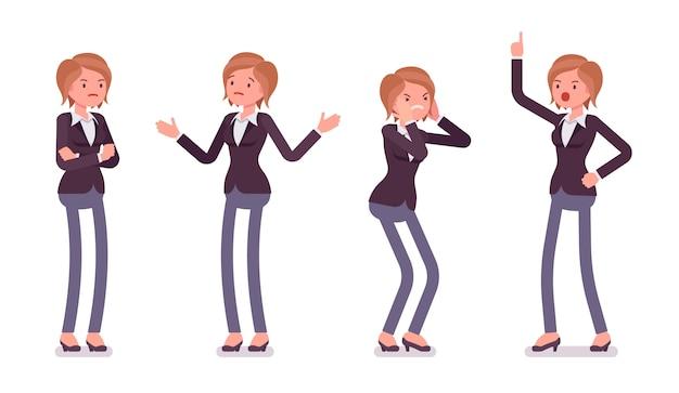 Satz des jungen weiblichen managers, der negative gefühle, verschiedene haltungen zeigt