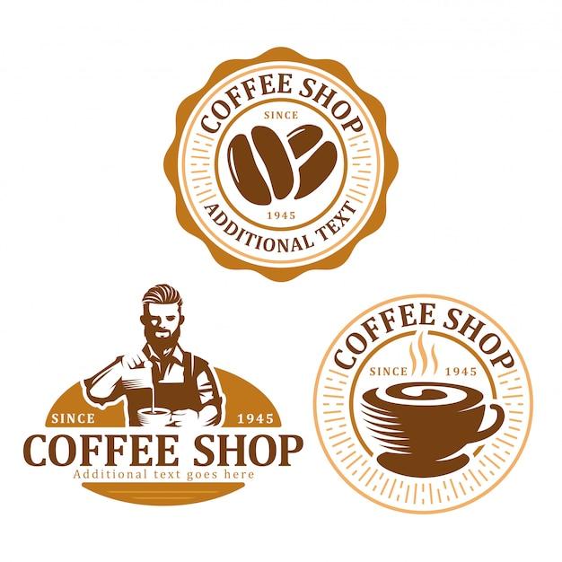 Satz des kaffeelogo-abzeichens