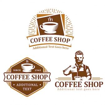 Satz des kaffeelogos, des kaffeeaufkleberausweises oder des emblemsatzes