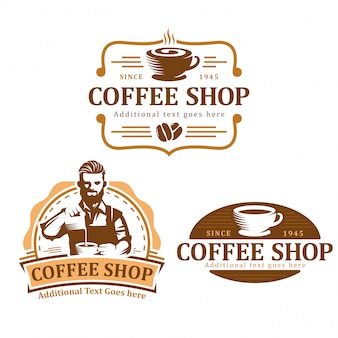 Satz des kaffeelogos, vektorkaffee-emblemsatz