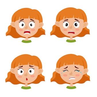 Satz des kleinen rothaarigen mädchens mit verschiedenen ausdrucksillustrationen