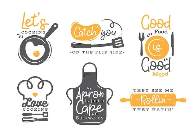Satz des kochenden zitat-aufklebers, der typografie und der beschriftung