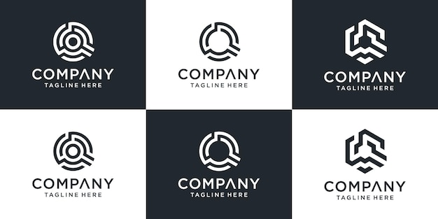 Satz des kreativen abstrakten buchstaben q technologie-logos.