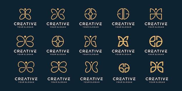 Satz des kreativen abstrakten monogramm-logoentwurfs.