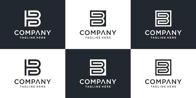 Satz des kreativen abstrakten monogrammbuchstaben-b-logos mit quadratischer designinspiration