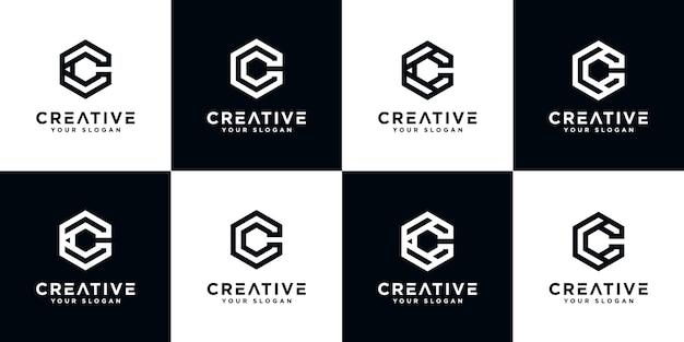 Satz des kreativen abstrakten monogrammbuchstaben c logoentwurfs mit sechseckartschablone