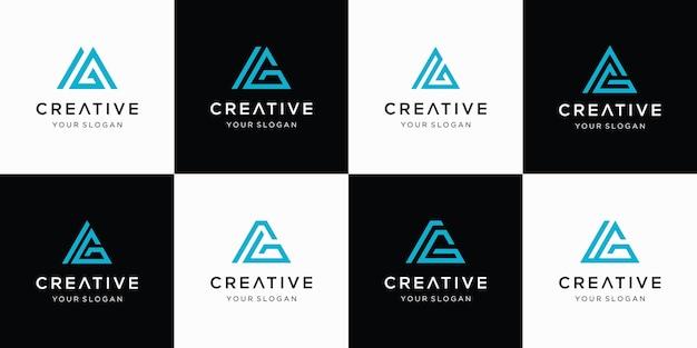 Satz des kreativen buchstaben-ag-logos mit abstrakter formlogoschablone