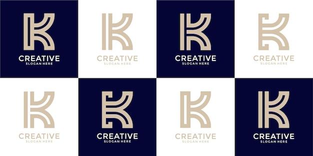 Satz des kreativen buchstaben k logoentwurfs