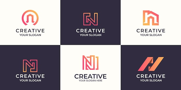 Satz des kreativen buchstaben n-logoentwurfs