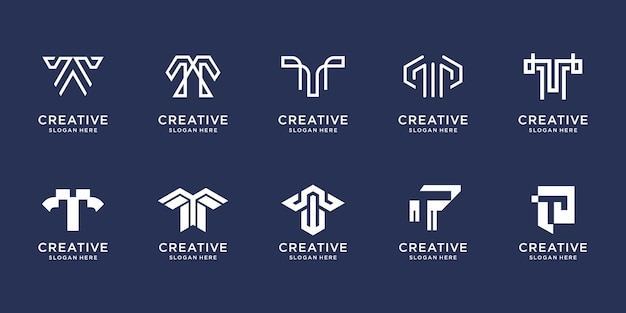 Satz des kreativen buchstaben-t-logodesignsymbols für geschäftsinspirationstechnologie-luxus-designschablone