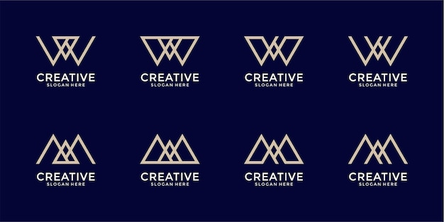 Satz des kreativen buchstabenmarkierungsmonogrammbuchstaben m logoentwurfs