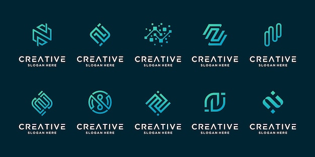 Satz des kreativen buchstabens n modernes digitales technologie-logo des liners.