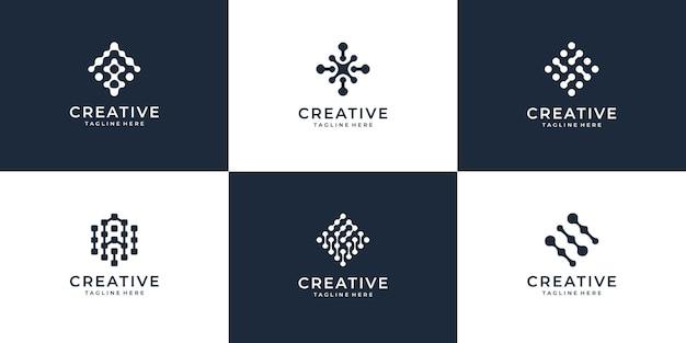 Satz des kreativen geometrischen logo-entwurfskonzepts der kreativen internetverbindung.