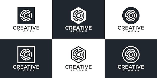 Satz des kreativen monogramm c-logoentwurfs
